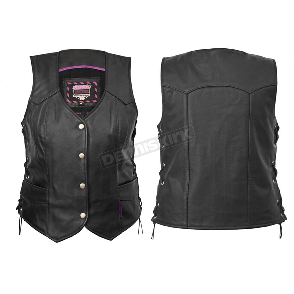 Interstate Leather Women's Black Scarlett Vest - I593M
