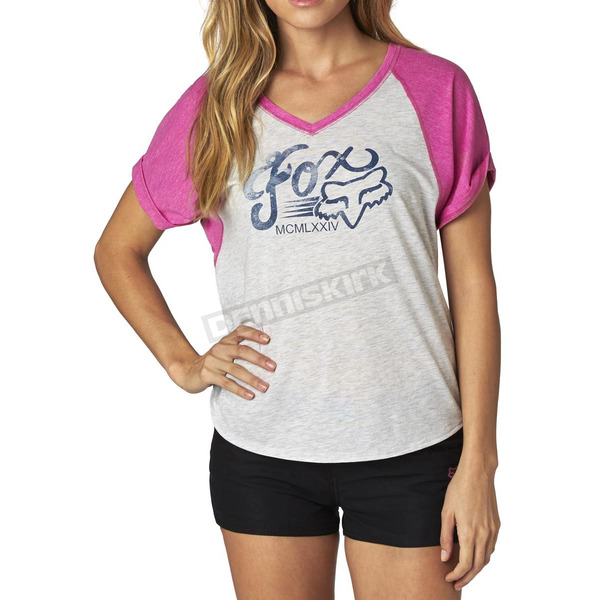 Fox Women's Fuchsia/Gray Transitory Raglan T-Shirt - 15986-198-S