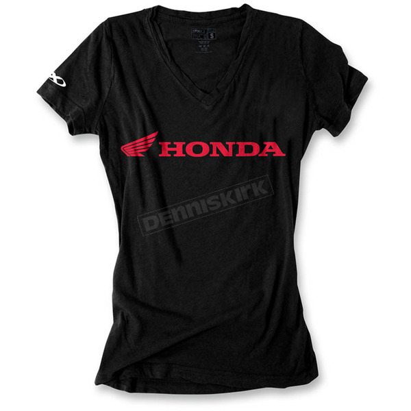 Factory Effex Women's Black Honda Horizontal V-Neck T-Shirt - 16-88344