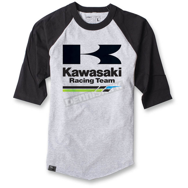 Factory Effex Gray/Black Kawasaki Racing Baseball T-Shirt - 17-87122