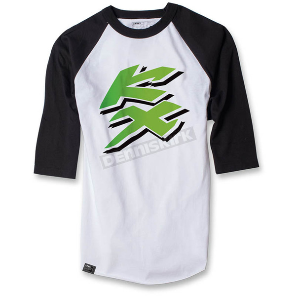 Factory Effex White/Black Kawasaki KX Baseball T-Shirt - 17-87132