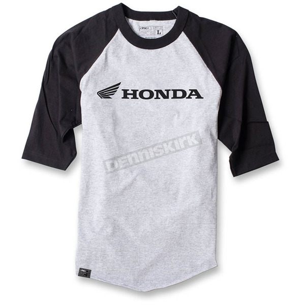 Factory Effex Gray/Black Honda Baseball T-Shirt - 17-87328