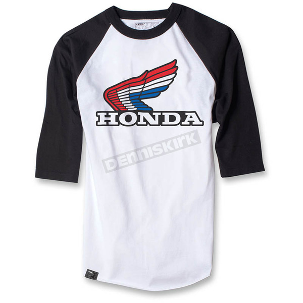 Factory Effex White/Black Honda Vintage Baseball T-Shirt - 17-87336