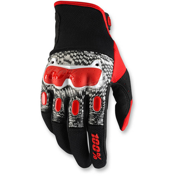 100% Black/White/Red Derestricted Gloves - 10007-003-10