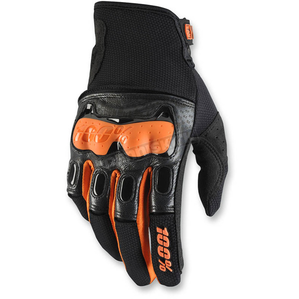100% Black/Orange Derestricted Gloves - 10007-054-12