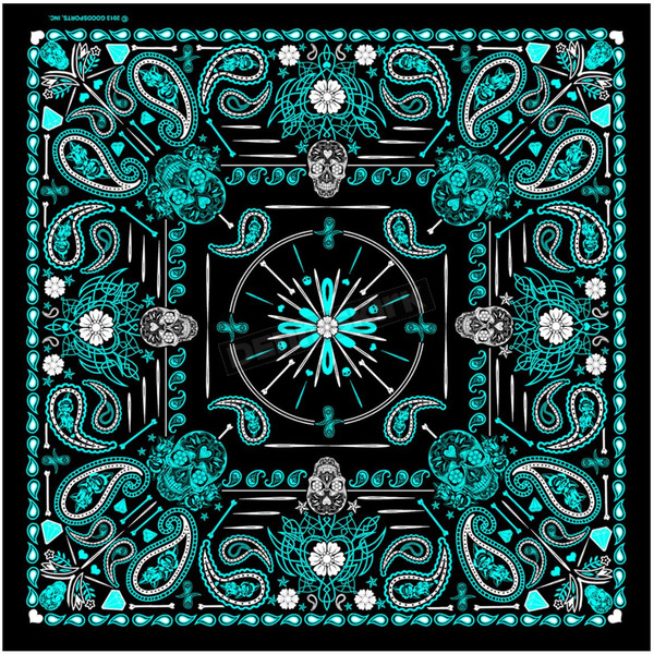 Hot Leathers Womens Blue Paisley Skull Bandana - BAB1072