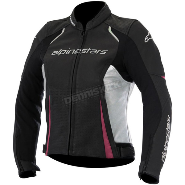 Alpinestars Women's Black/White/Pink Stella Devon Airflow Leather Jacket - 3112116-1239-48