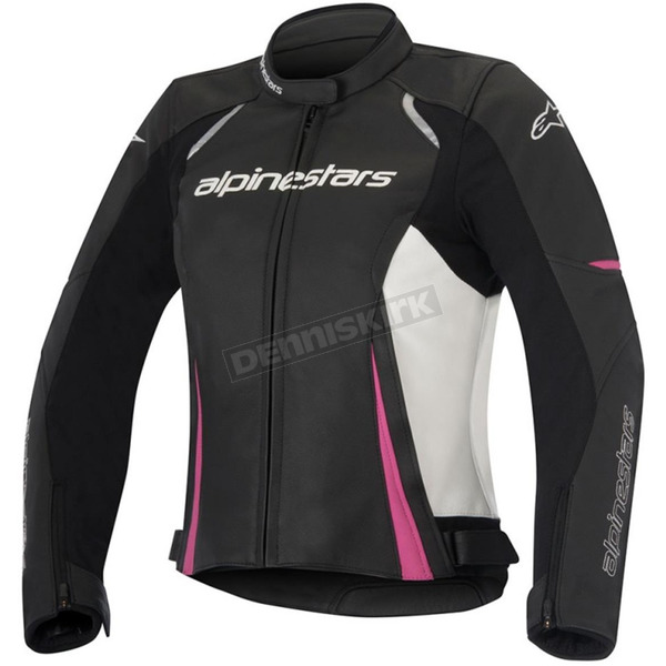 Alpinestars Women's Black/White/Pink Stella Devon Leather Jacket - 3112016-1239-42