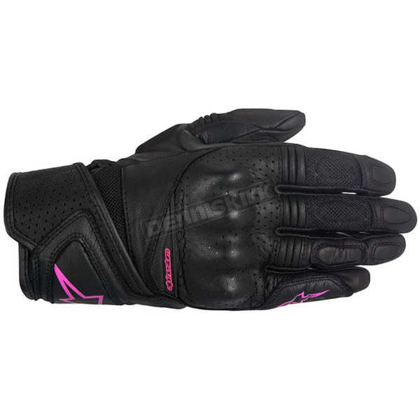 Alpinestars Women's Black/Pink Stella Baika Leather Glove - 3518916-1039-L
