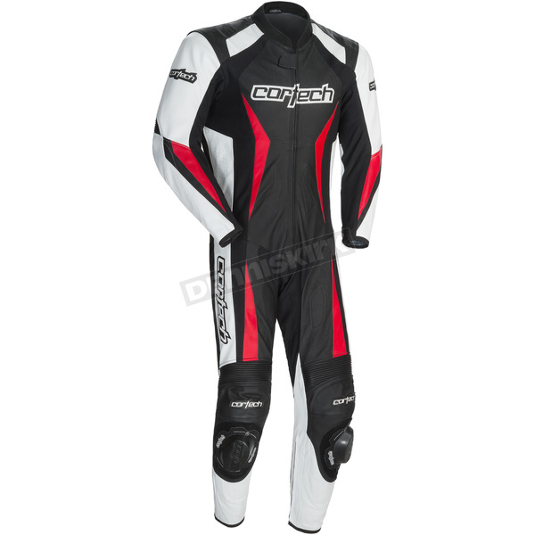 Cortech Black/White/Red Latigo 2.0 Leather Race-Ready One-Piece Suit - 8991-0201-07