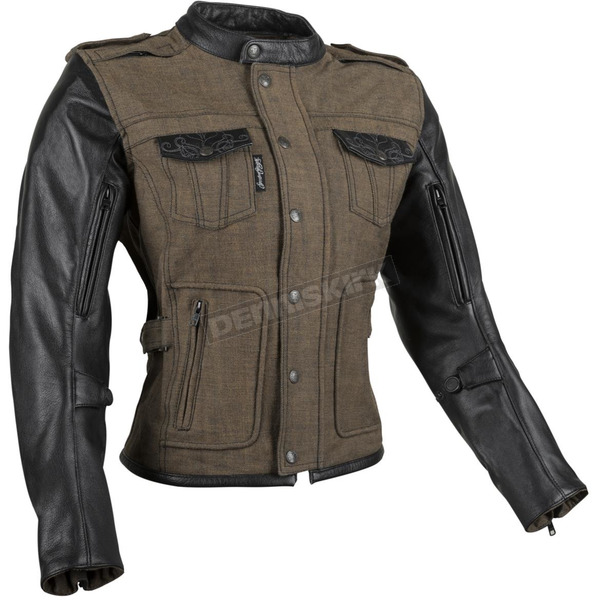 Speed and Strength Women's Brown Six Speed Sisters Leather/Denim Jacket - 879965