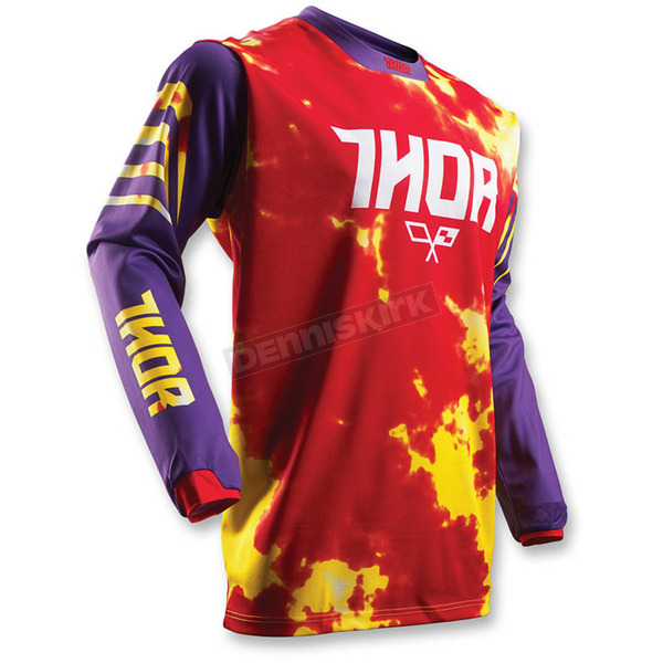 Thor Youth Purple/Fire Pulse Tydy Jersey - 2912-1434