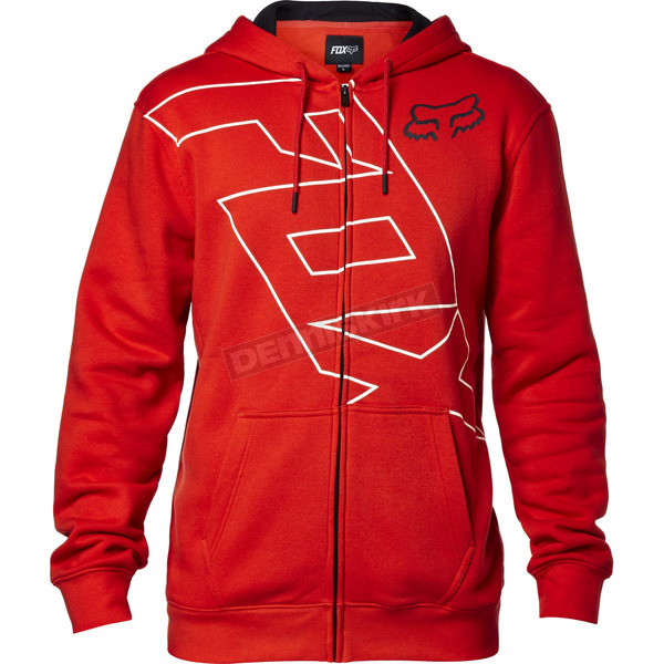 Fox Flame Red Spyr Zip Hoody - 17503-122-S