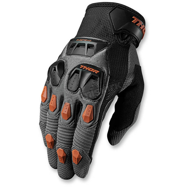 Thor Charcoal/Orange Defend Gloves - 3330-3865