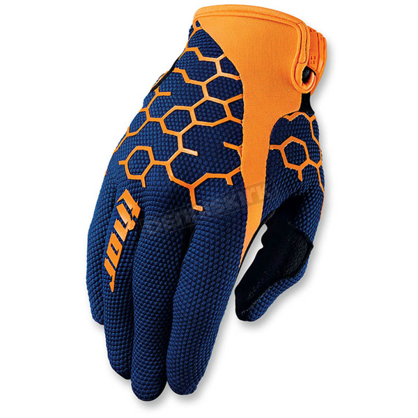 Thor Navy/Orange Draft Comp Gloves - 3330-3907
