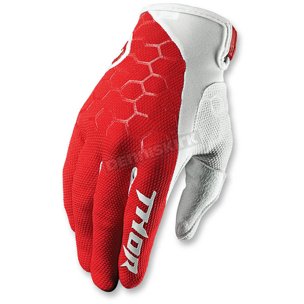 Thor Red/White Draft Indi Gloves - 3330-3922