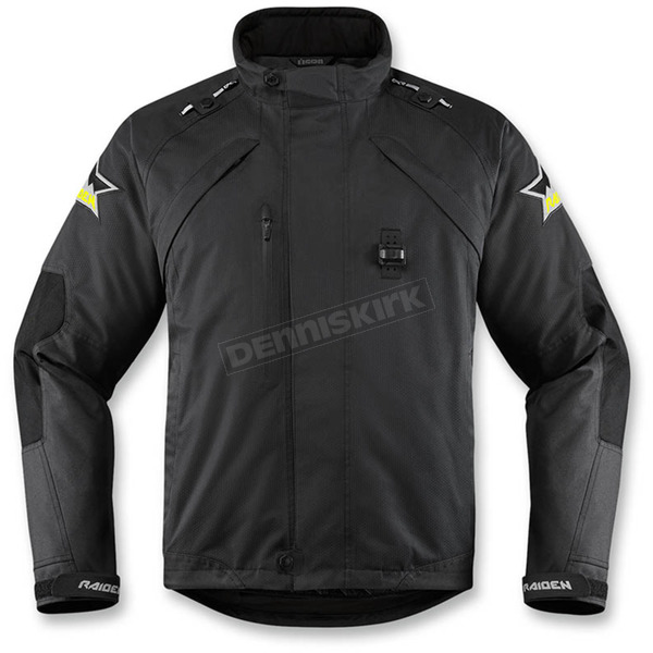 Icon - Raiden Black Raiden DKR Monochromatic Waterproof Jacket - 2820-3767