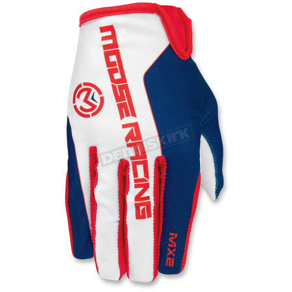 Moose Red/White/Blue MX2 Gloves - 3330-4181