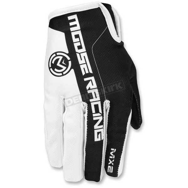 Moose White/Black MX2 Gloves - 3330-4195