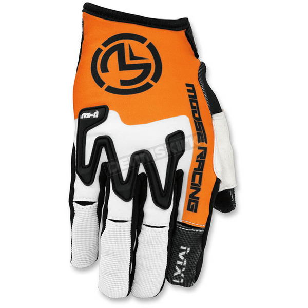 Moose White/Orange MX1 Gloves - 3330-4277