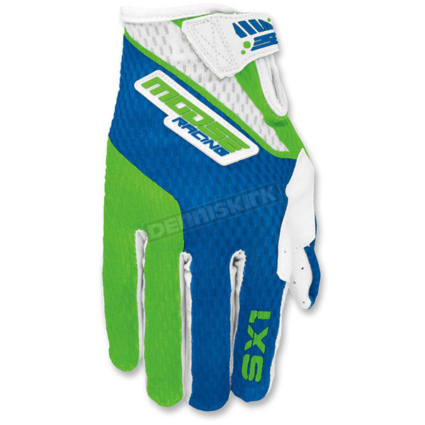 Moose Youth Green/Blue SX1 Gloves - 3332-1152
