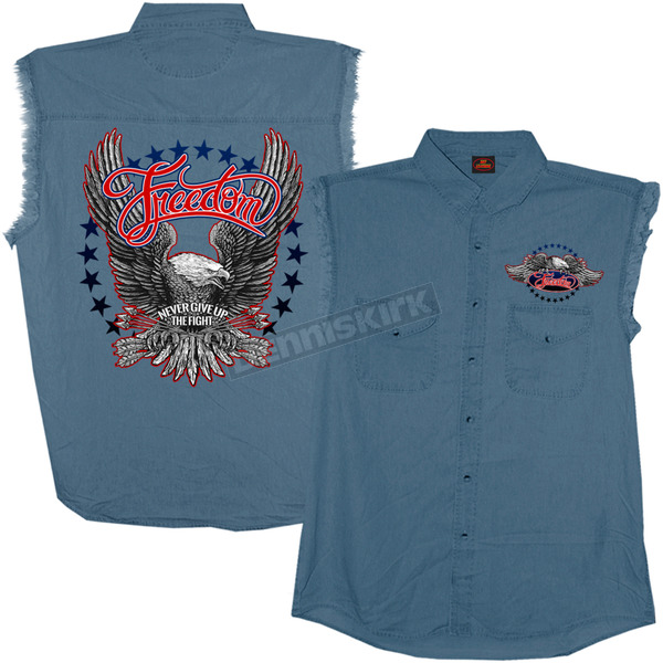 Hot Leathers Freedom Eagle Sleeveless Denim Shirt - GMD5340XXL