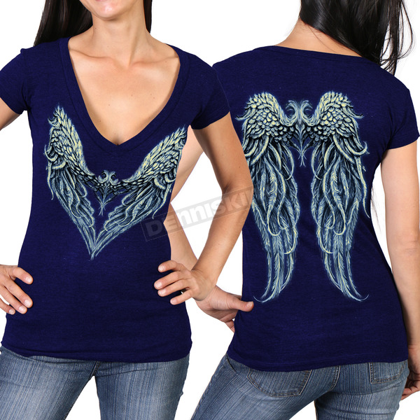 Hot Leathers Women's Navy Angel Heart 2  Semi-Sheer V-Neck T-Shirt - GLD1392S