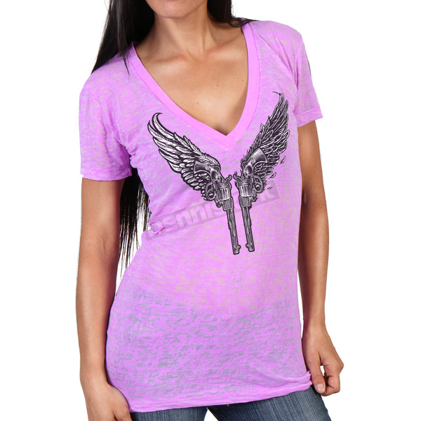 Hot Leathers Women's Purple Young Guns Burnout V-Neck T-Shirt - GLC1415M