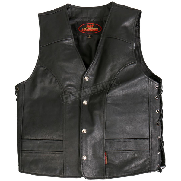Hot Leathers Side Lace Cowhide Leather Vest - VSM1030XXXL