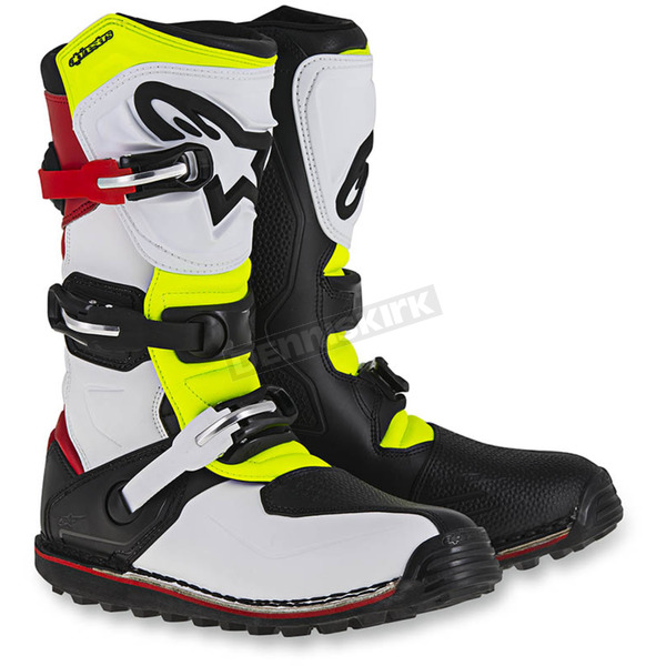 Alpinestars White/Red/Flo Yellow/Black Tech T Boots - 2004017-2351-7