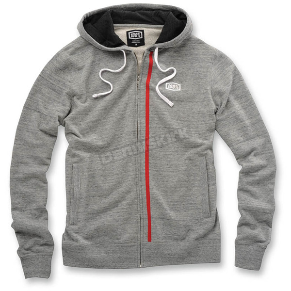 100% Drew Gray Fleece Zip Hoody - 36015-007-13