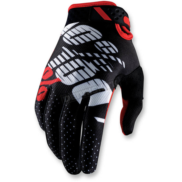 100% Black/Red Ridefit Gloves - 10001-013-10