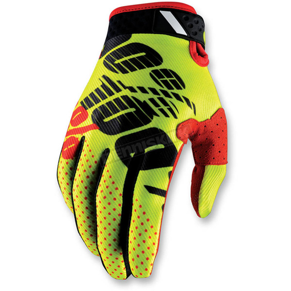 100% Neon Yellow/Black Ridefit Gloves - 10001-014-13