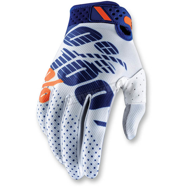 100% White/Navy Ridefit Gloves - 10001-015-13