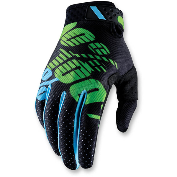 100% Black/Lime Ridefit Gloves - 10001-077-10