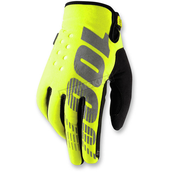 100% Youth Neon Yellow Brisker Gloves - 10006-004-06