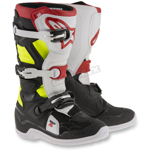 Alpinestars Black/Red/Flo Yellow Youth Tech 7S Boots - 2015017-136-6