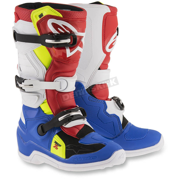 Alpinestars Blue/White/Red/Flo Yellow Youth Tech 7S Boots - 2015017-7025-6