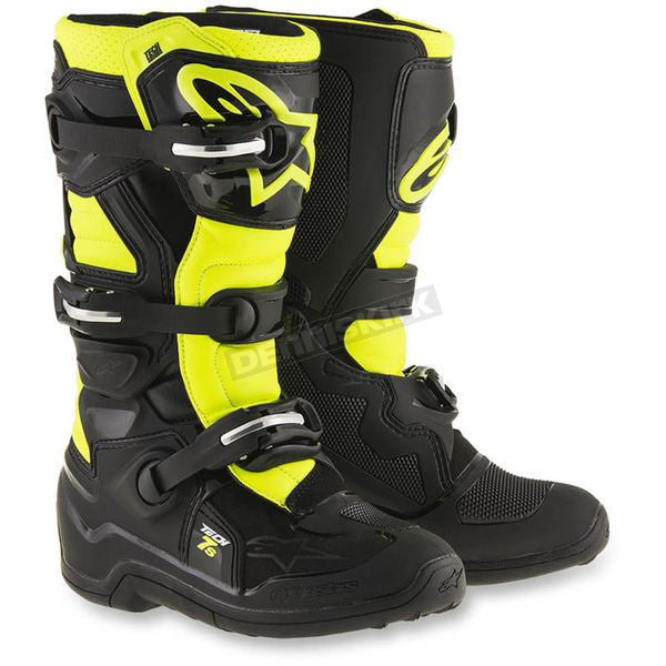 Alpinestars Black/Flo Yellow Youth Tech 7S Boots - 2015017-155-5