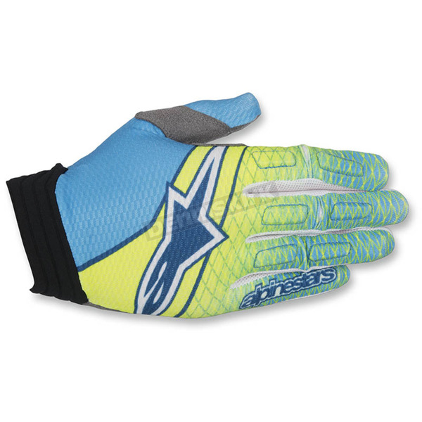 Alpinestars Flo Yellow/Cyan/Dark Blue Aviator Gloves - 3560317-577-XL