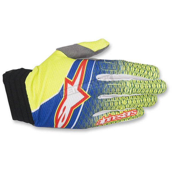 Alpinestars Blue/Flo Yellow/Red Aviator Gloves - 3560317-754-LG