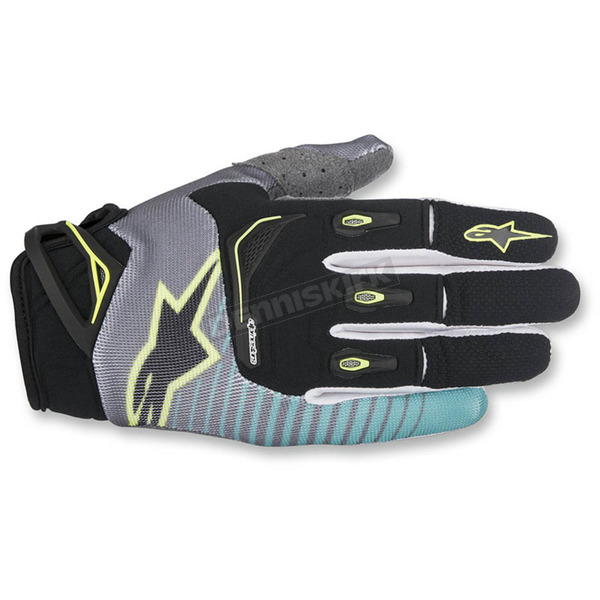 Alpinestars Black/Teal/Flo Yellow Techstar Gloves - 3561017-1074-MD