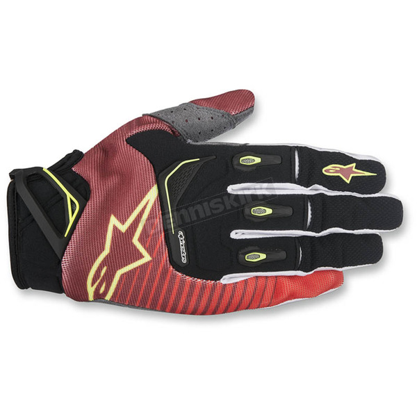 Alpinestars Red/White/Flo Yellow Techstar Gloves - 3561017-305-LG