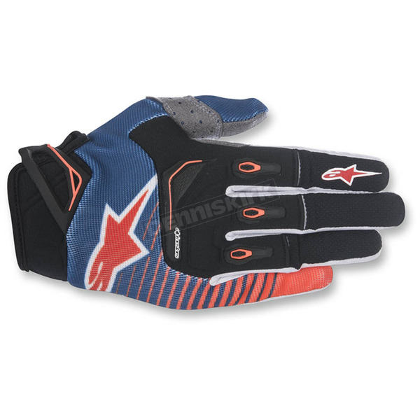 Alpinestars Dark Blue/Orange/White Techstar Gloves - 3561017-7043-LG