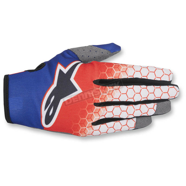Alpinestars Red/White/Blue Radar Flight Gloves - 3561817-307-LG