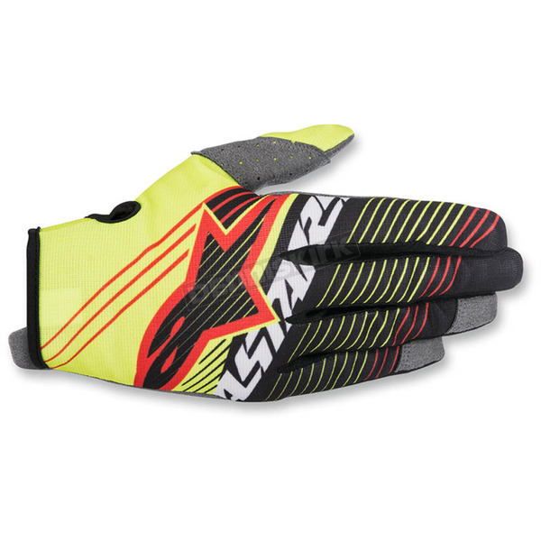 Alpinestars Youth Flo Yellow/Black Radar Tracker Gloves - 3541917-551-LG