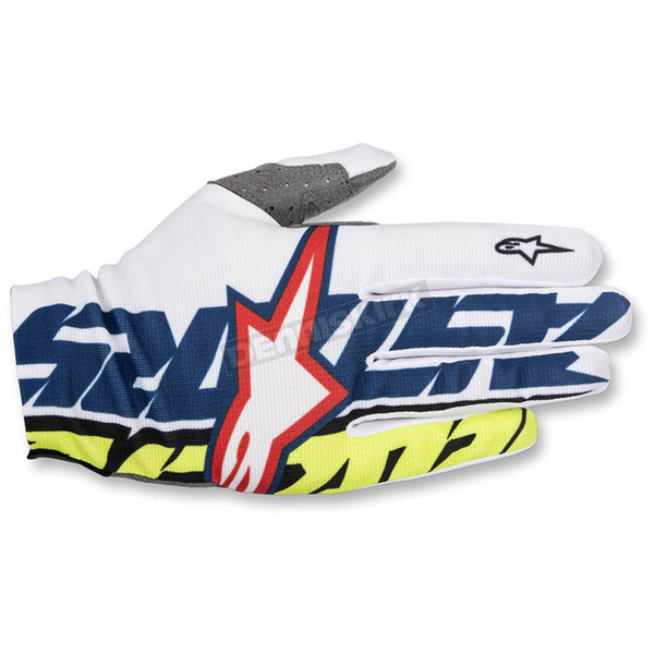 Alpinestars White/Dark Blue/Flo Yellow Dune-1 Gloves - 3562517-227-LG