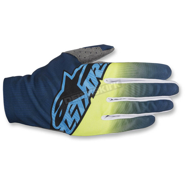 Alpinestars Dark Blue/Flo Yellow/Cyan Dune-2 Gloves - 3562617-7055-SM