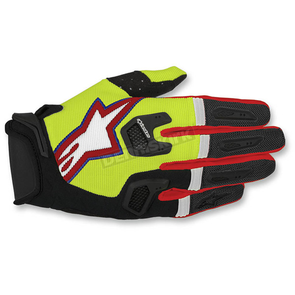 Alpinestars Flo Yellow/Black/Red Racefend Gloves - 3563517-536-LG