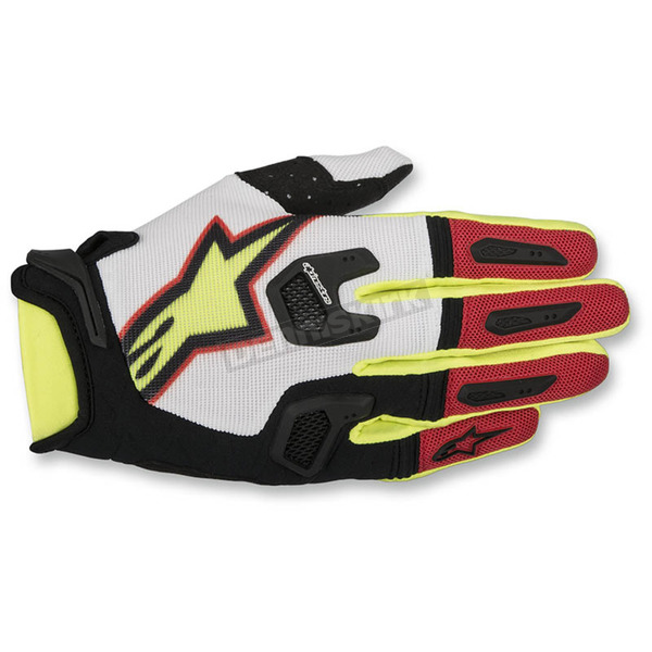 Alpinestars White/Red/Flo Yellow Racefend Gloves  - 3563517-236-LG